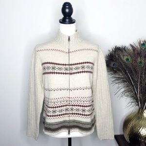 Eddie Bauer 100% Lambswool Fair Isle Zip Sweater